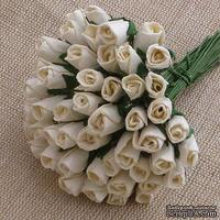 Закрытые бутоны роз, цвет кремовый, 8 мм, 10 штук