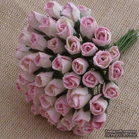 Закрытые бутоны роз, цвет розовый/слоновая кость, 8 мм, 10 штук