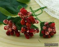 Веточка с ягодками, цвет красный, размер соцветия - 20х20мм, 1 шт.