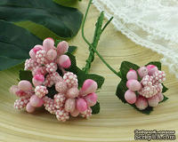 Веточка с ягодками, цвет нежно-розовый, размер соцветия - 20х20мм, 1 шт.