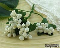 Веточка с ягодками, цвет белый, размер соцветия - 20х20мм, 1 шт.