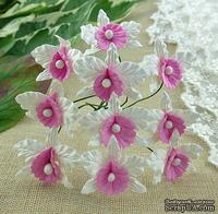 Орхидеи, цвет белый с нежно-розовым, размер - 22х30мм, 5 шт.