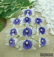 Орхидеи маленькие, цвет белый с фиолетовым, 22х30мм, 5 шт.
