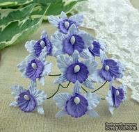 Орхидеи маленькие, цвет сиреневый с фиолетовым, 22х30мм, 5 шт.