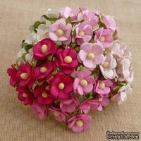 Набор цветочков  Sweetheart, микс розовых оттенков, 15мм, 100 шт.