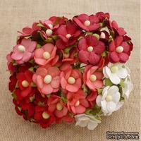 Набор цветочков  Sweetheart, микс красных и белых оттенков, 15мм, 100 шт.