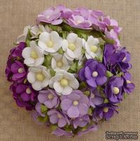 Набор цветочков  Sweetheart, микс фиолетовых оттенков, 15мм, 100 шт.
