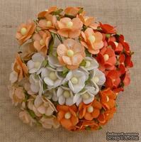 Набор цветочков  Sweetheart, микс персиковых, оранжевых и белых оттенков, 15мм, 100 шт.