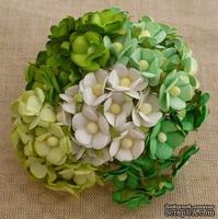 Набор цветочков  Sweetheart, микс зеленых и белых оттенков, 15мм, 100 шт.