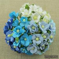 Набор цветочков  Sweetheart, микс голубых и белых оттенков, 15мм, 100 шт.