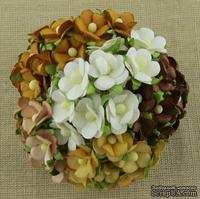 Набор цветочков  Sweetheart, микс коричневых и белых оттенков, 100 шт.