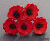 Набор цветков - Маки, цвет - красный, 2 см, 5 шт.
