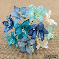 Лилии от Thailand, микс-набор: голубые и белые, 30 мм, 50 шт