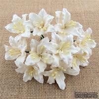 Лилия, цвет - белый, 3 см., 5 шт