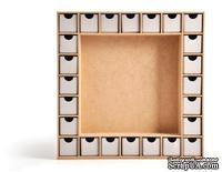 Деревянная заготовка - Адвент календарь  от Kaisercraft - Beyond the Page Collection - Advent Calendar Kit, 2,5 x 33 x 33,7 см.