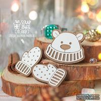 Набор деревянных фишек  ScrapBox - Мишка с варежками Fl-008, 3 шт.