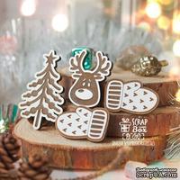 Набор деревянных фишек  ScrapBox - Новогодний, 4шт Елочка с мордочкой оленя Fl-010