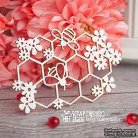 Чипборд ScrapBox - соты с цветами и пчелами Hf-092