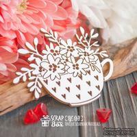 Чипборд ScrapBox - Чашка в сердечках с цветами Hf-184 - ScrapUA.com