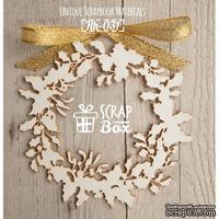 Чипборд ScrapBox - Новогодний венок с остролистом и омелой Hh-031