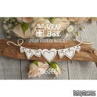Чипборд ScrapBox - Ленточка с флажками сердечками