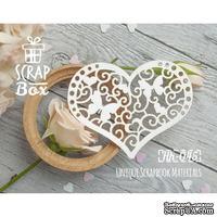 Чипборд ScrapBox - Декоративное сердце с бабочками
