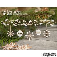 Чипборд ScrapBox - Новогодняя гирлянда со снежинками Hh-084