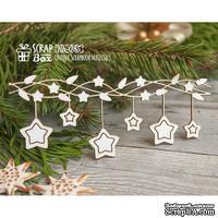 Чипборд ScrapBox - Новогодняя гирлянда со звездочками Hh-085
