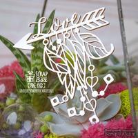 Чипборд ScrapBox - Стрела с перьями и надписью love Hh-182