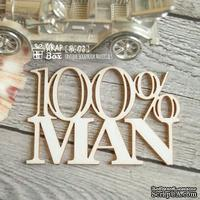Чипборд ScrapBox - надпись 100% man Hi-173