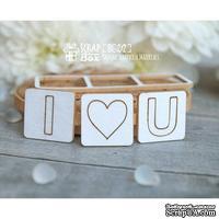 Чипборд ScrapBox - надпись І Love U квадратиками Hi-217