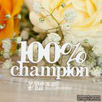 Чипборд ScrapBox - Надпись 100% champion Hi-329