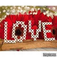 Чипборд ScrapBox - Надпись Love под вышивку тонкая Hi-343