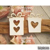 Чипборд ScrapBox - Подарки с сердечками