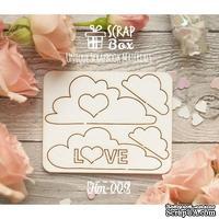 Чипборд ScrapBox - Облачка с сердечками