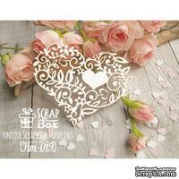 Чипборд ScrapBox - Кружевное сердце с цветами и листиками