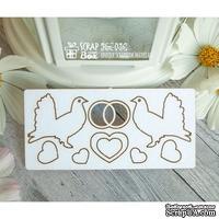 Чипборд ScrapBox - набор свадебные голуби с обручальными кольцами