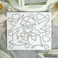 Чипборд ScrapBox - набор свадебные голуби