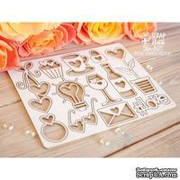 Чипборд ScrapBox - Большой набор простых свадебных элементов Hm-056