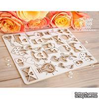Чипборд ScrapBox - Маленький набор простых свадебных элементов Hm-057