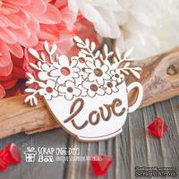 Чипборд ScrapBox - Чашка с цветами Love Hm-077