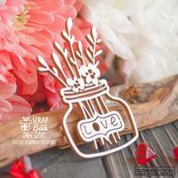 Чипборд ScrapBox - Банка с цветами Love Hm-078