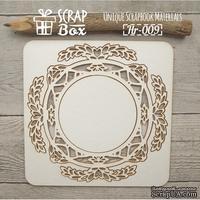 Чипборд ScrapBox - Рамка круглая Ажурный лиственный орнамент