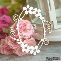 Чипборд ScrapBox - овальная рамка с цветами Hr-050