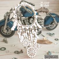 Чипборд ScrapBox - Рамка Ловец снов с перьями и шестеренками Hr-157