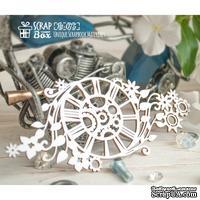 Чипборд ScrapBox - Часы с шестеренками и растительным мотивам Ht-075