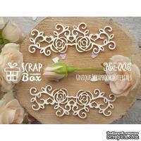 Чипборд ScrapBox - Бордюр Розы с завитками и сердечками