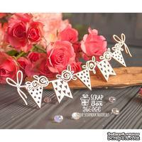 Чипборд ScrapBox - гирлянда из флажков с розами Hw-064