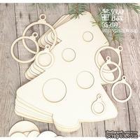 Основа для альбома ScrapBox в форме елочки с шариками (6 шт.) Os-044