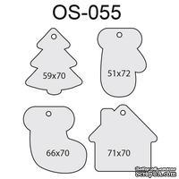 Чипборд ScrapBox - Основа набор тегов новогодних (4 шт.) Os-055